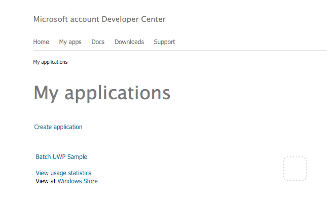 Microsoft account Developer Center home