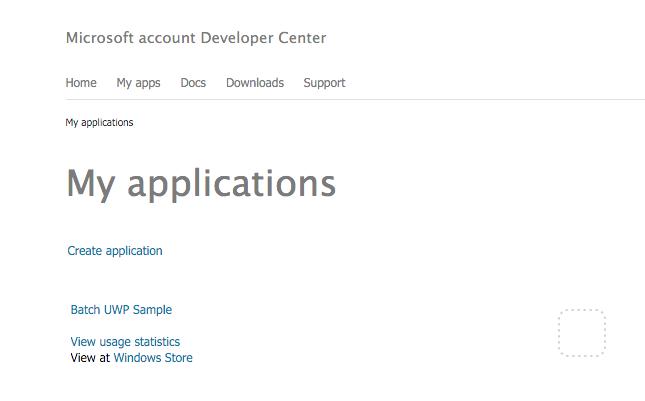 Microsoft account Developer Center home